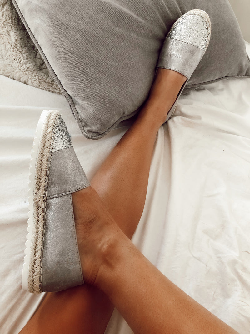 ladies grey and silver espadrilles