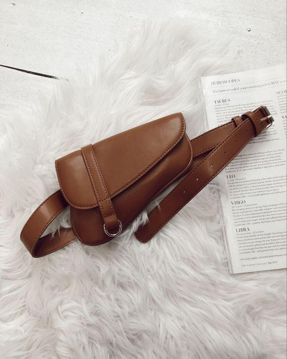 Glance Saddle Bum Bag In Tan