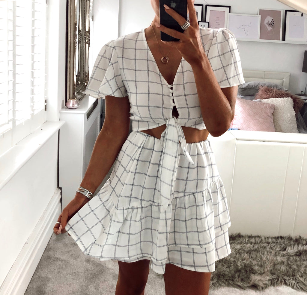 Tomorrow Night Co-Ord in White Check