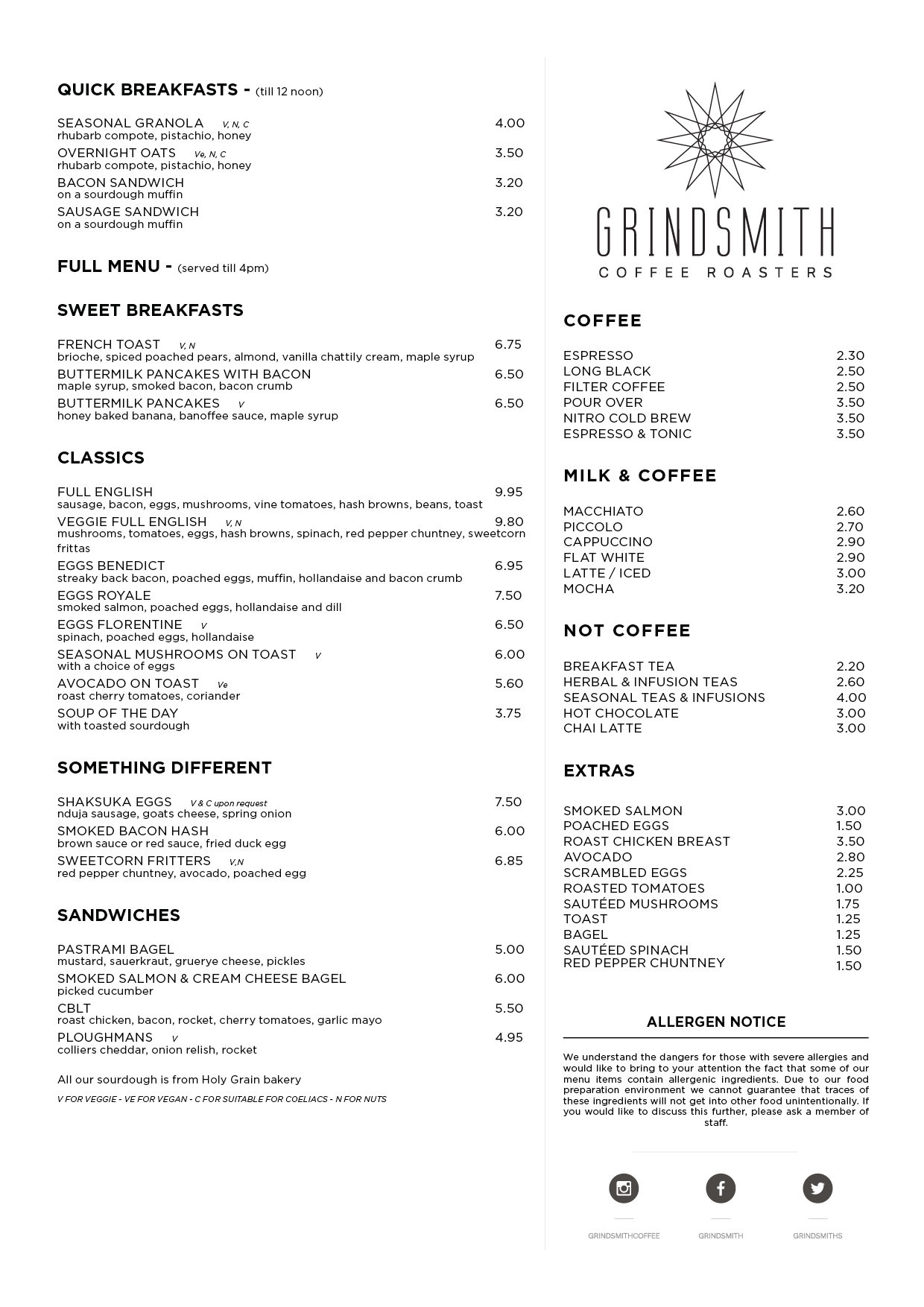 Grindsmith Bridge street Food Menu