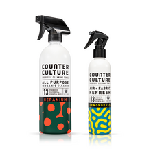 Load image into Gallery viewer, Geranium All Purpose Cleaner, Lemongrass Air + Fabric Refresh by Counter Culture Clean by Counter Culture Clean