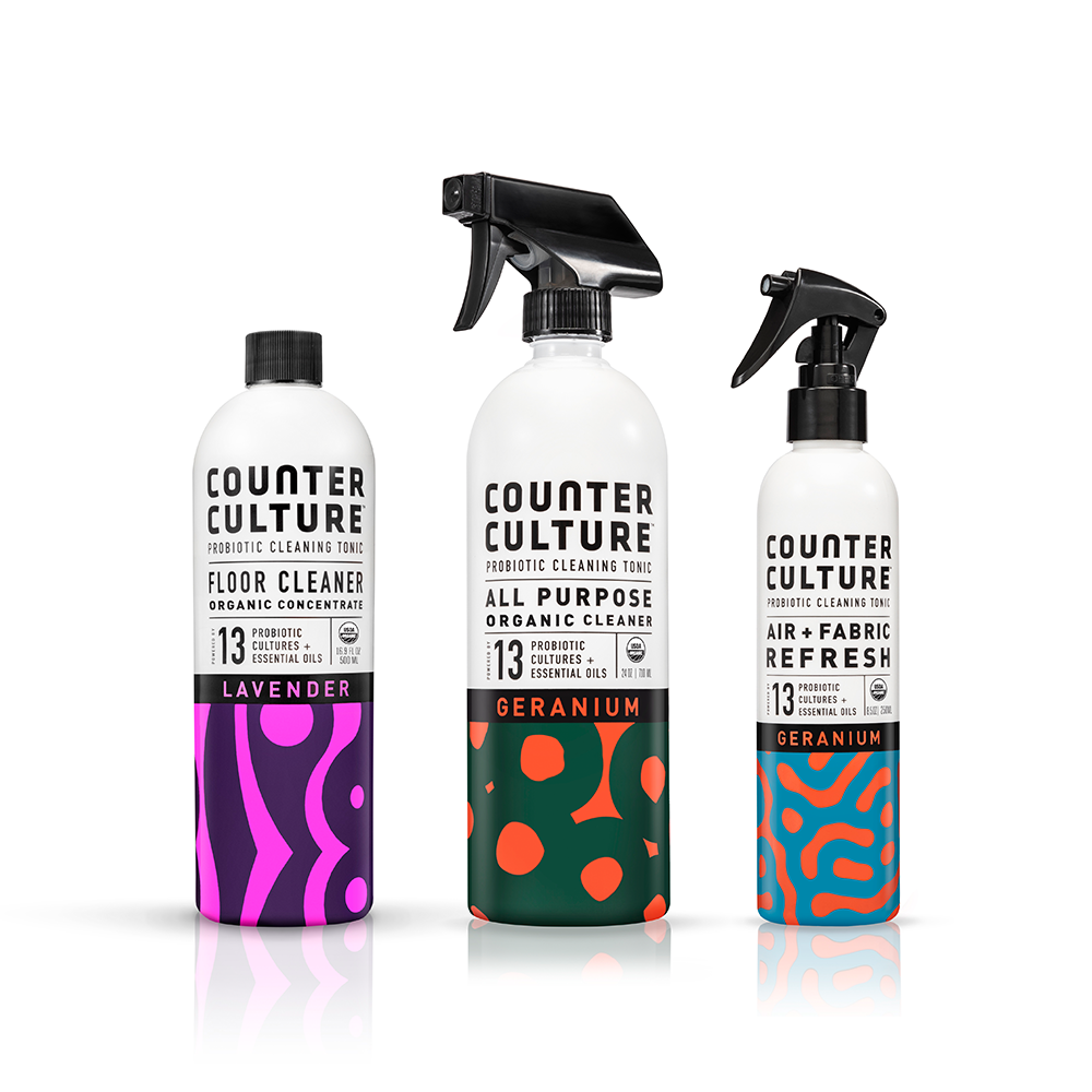 Geranium All Purpose Cleaner, Geranium Air + Fabric Refresh, Lavender Floor Cleaner  by Counter Culture Clean by Counter Culture Clean