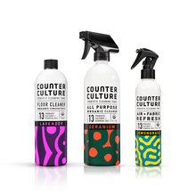Load image into Gallery viewer, Geranium All Purpose Cleaner, Lemongrass Air + Fabric Refresh, Lavender Floor Cleaner  by Counter Culture Clean by Counter Culture Clean