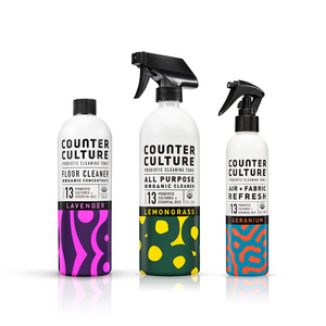 Lemongrass All Purpose Cleaner, Geranium Air + Fabric Refresh, Lavender Floor Cleaner  by Counter Culture Clean by Counter Culture Clean