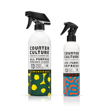 Load image into Gallery viewer, Lemongrass All Purpose Cleaner, Geranium Air + Fabric Refresh by Counter Culture Clean by Counter Culture Clean