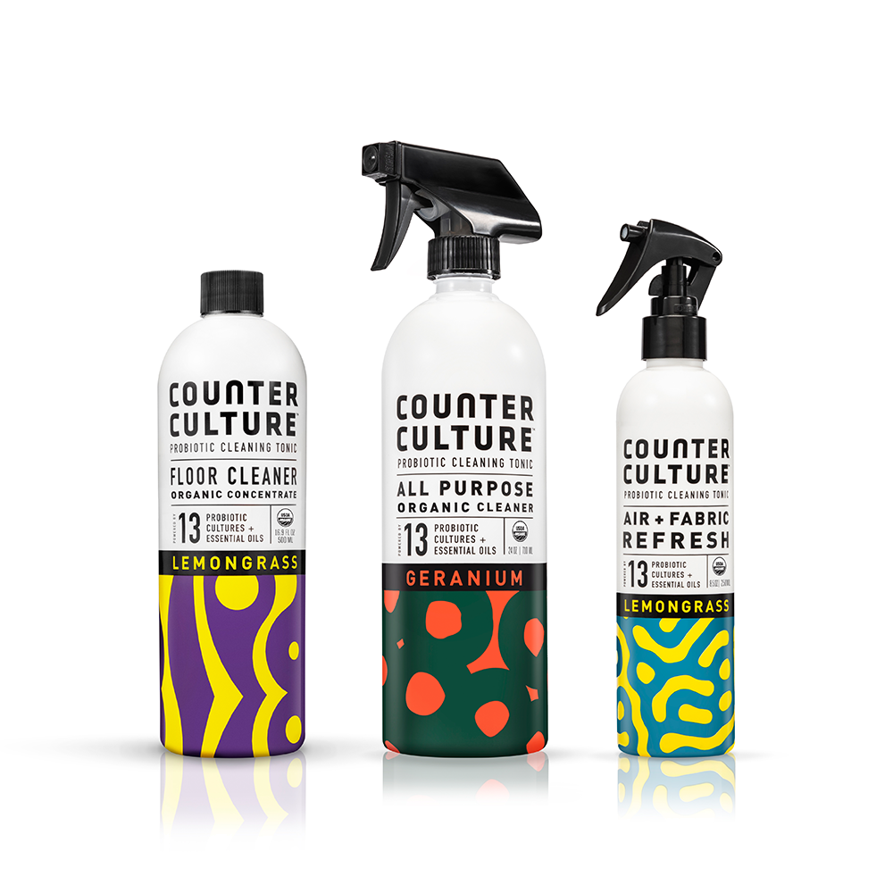 Geranium All Purpose Cleaner, Lemongrass Air + Fabric Refresh, Lemongrass Floor Cleaner by Counter Culture Clean
