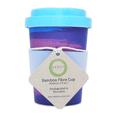 Perky By Nature Bamboo Coffee Cup - Purple 12oz