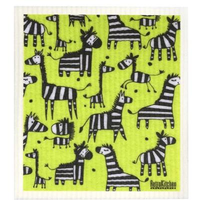 compostable eco-friendly sponge cloth Retrokitchen - zebra
