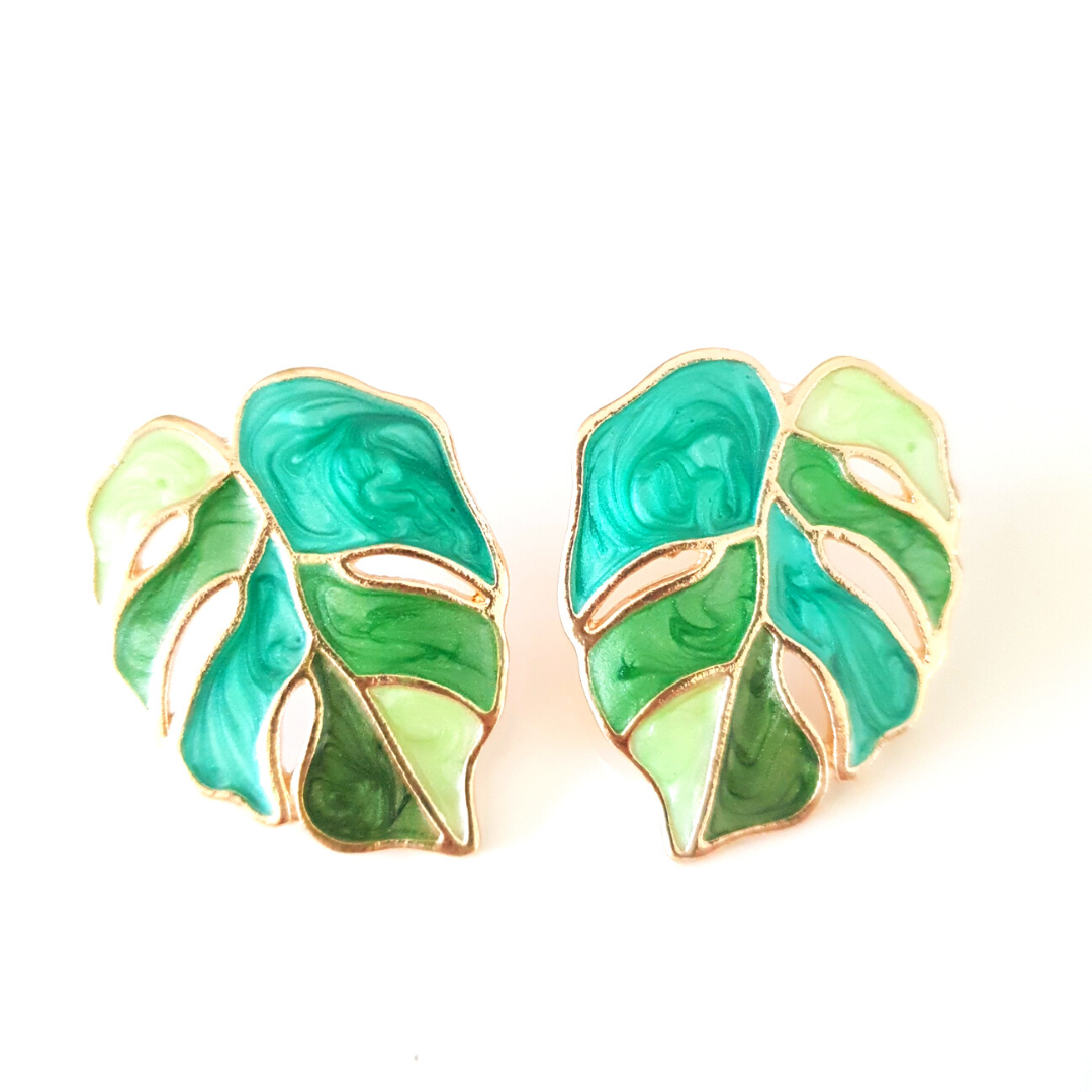 Variegated Monstera Earrings