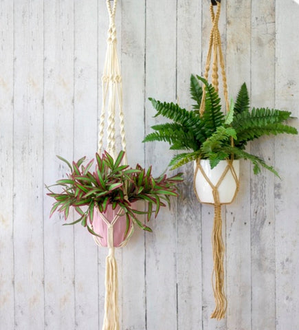 Macrame Hanging Planter Pot Holder White