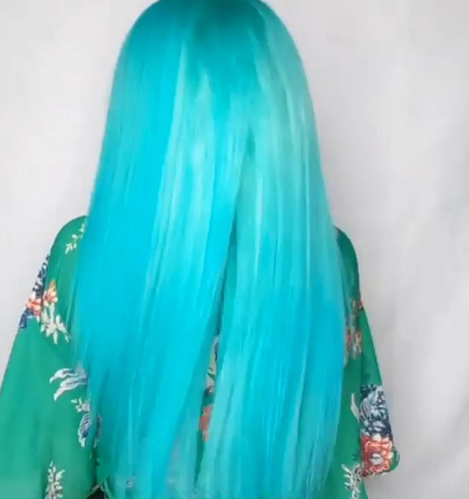 Sky blue long straight hair