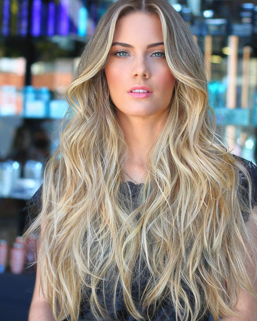 Long curly hair blonde wavy wig
