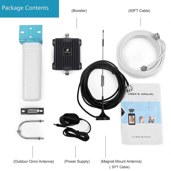Cellphone Signal Booster 800MHz&2100MHz Dual Band Omni and Magnet Mount Antenna-Phonetone