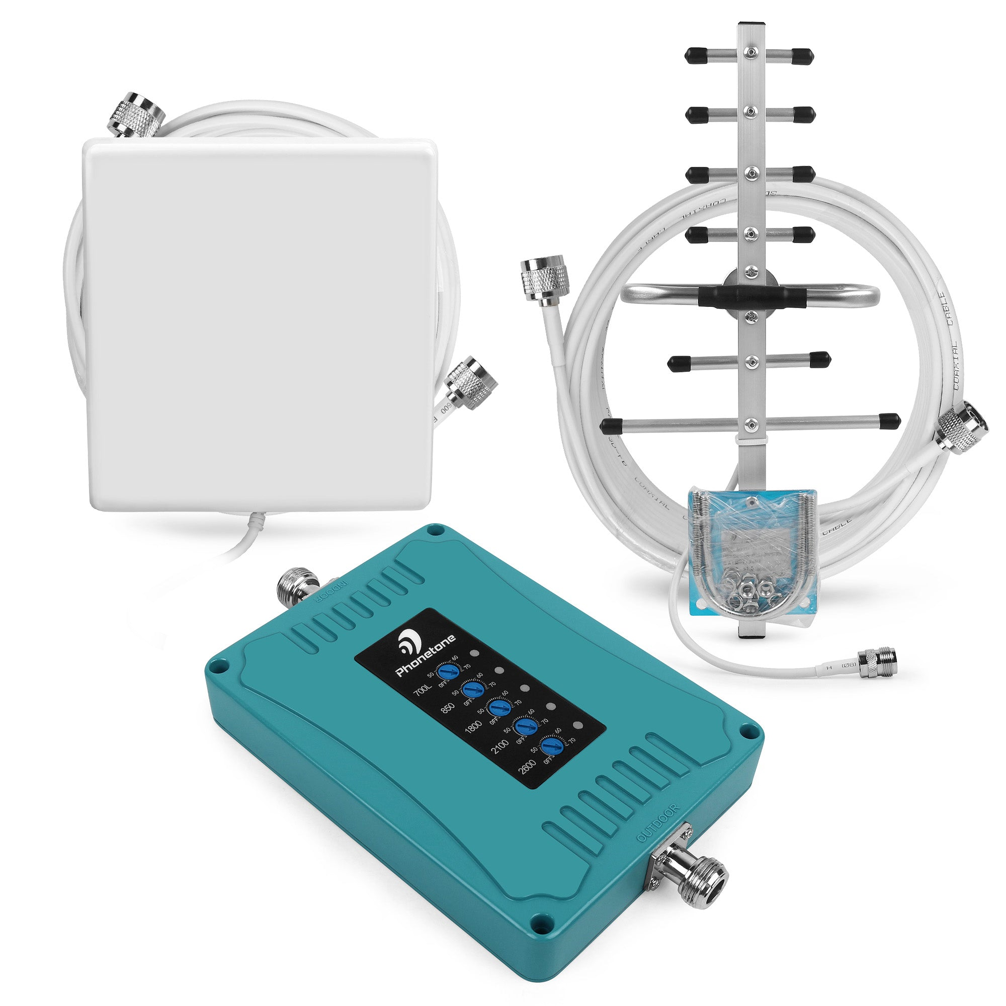 Cell Phone Signal Booster 700/900/1800/2100/2600MHz Yagi Antenna and Panel antenna 70dB Kit