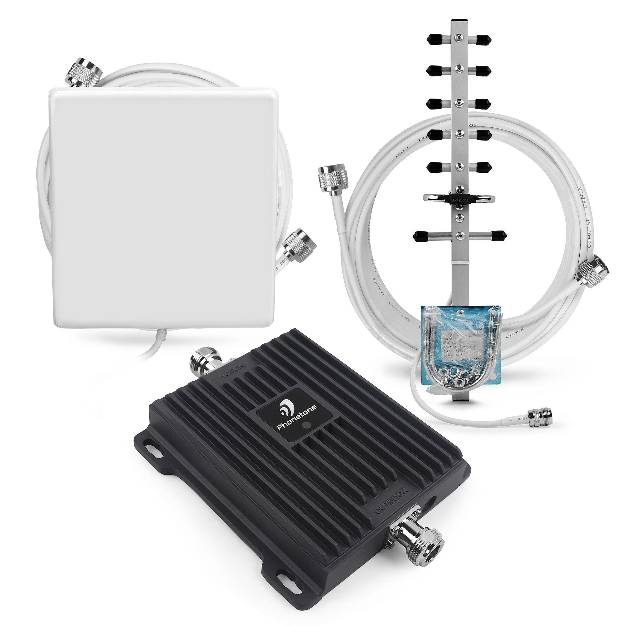 2100MHz 65dB Mobile Phone Signal Booster Kit with Yagi and Panel Antenna
