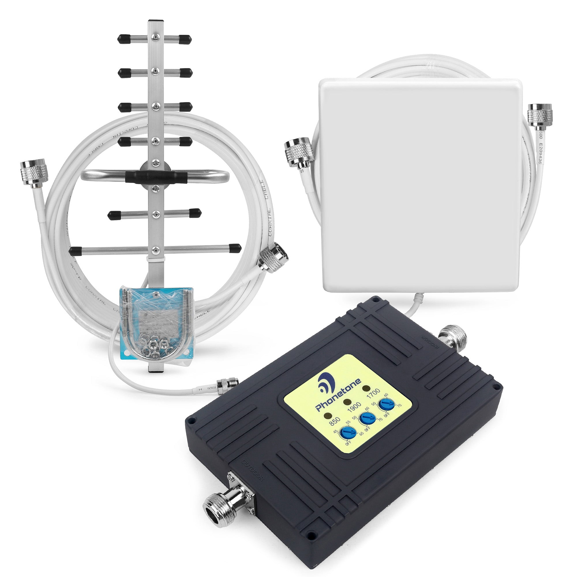 Cell Phone Signal Booster Tri-band 850/1900/1700MHz 70dB With Yagi Antenna and Panel Antenna