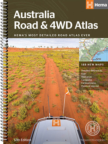 A product overview of the Australia Road & 4WD Atlas (Spiral Bound) Ed12 from Hema Maps