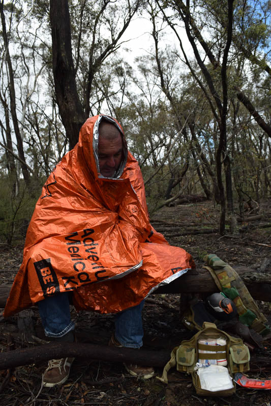 A Survival Blanket can help treat shock, hypothermia and keep you dry.