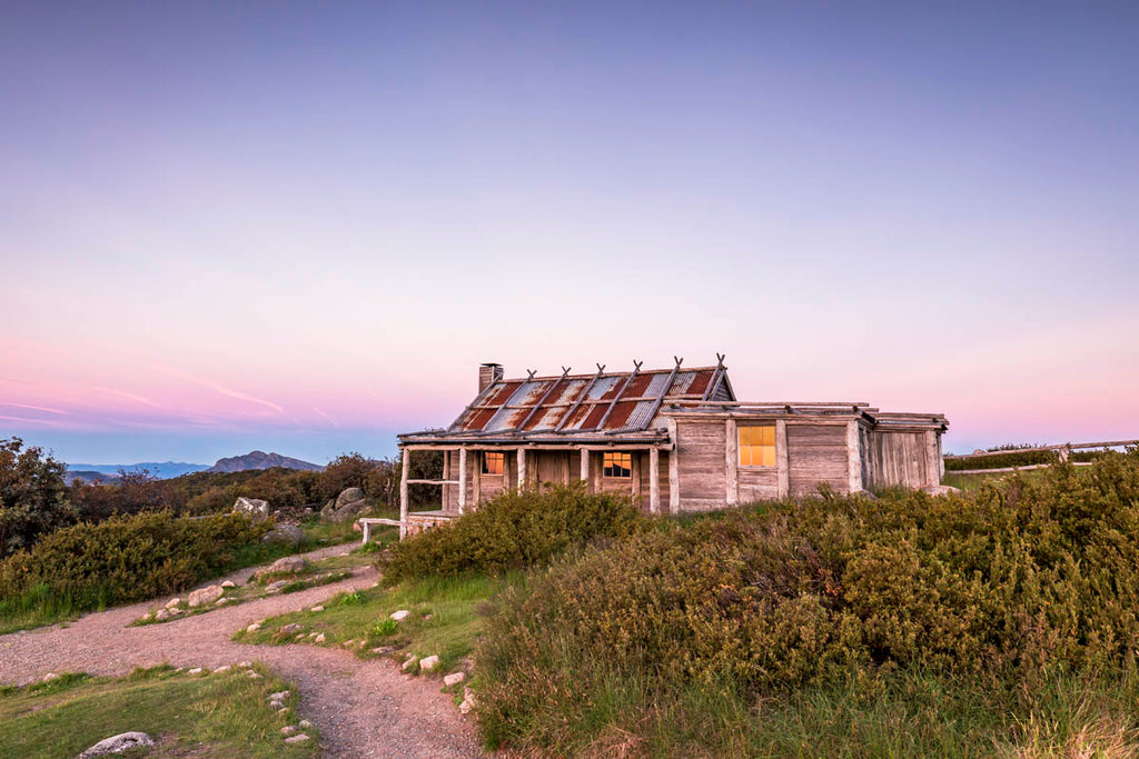Built for a movie and the most famous hut in the High Country, at sunset, it is just beautiful!