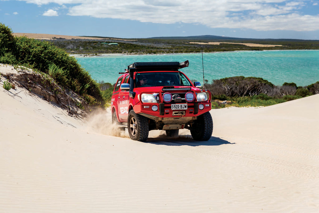 When possible, follow in existing tyre tracks where the sand will be firmer.