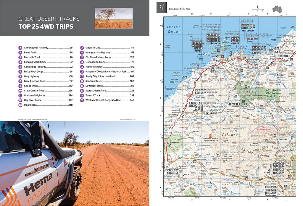 Great Desert Tracks Atlas & Guide from Hema Maps top 25 4WD trips plus full page map on pg 19
