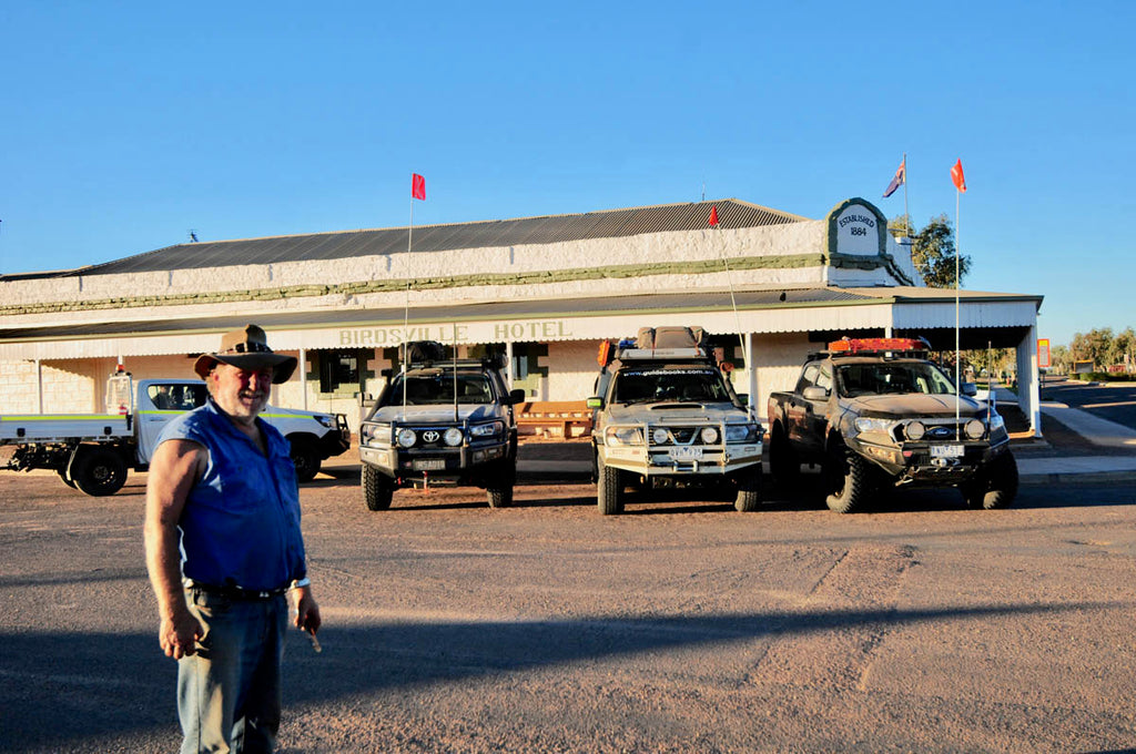 Moonie in front of the iconic Birdsville pub