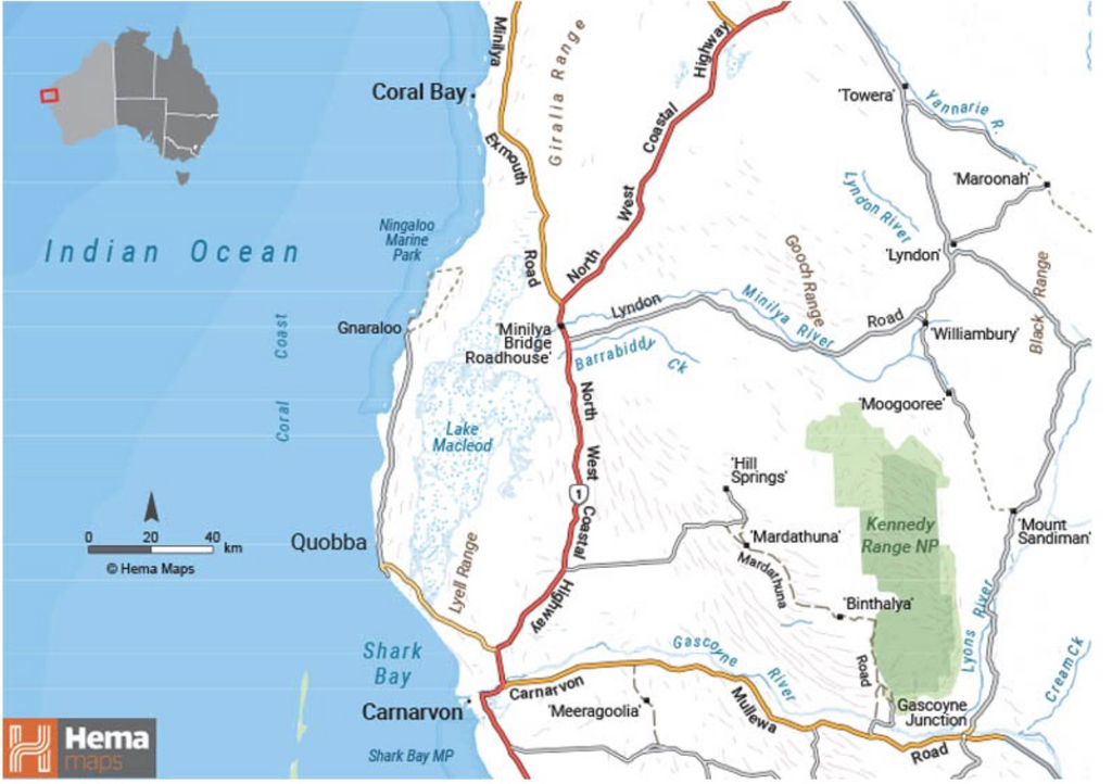 The Coral Coast. Map from Hema Maps
