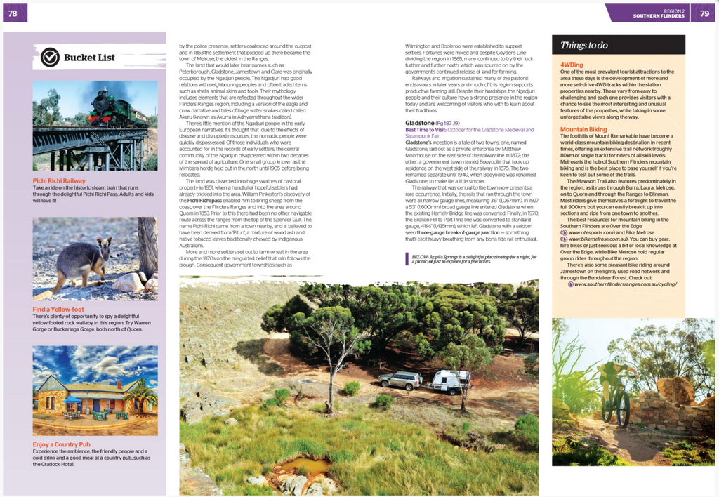 Detailed information, list of things to do and stunning Hema photography pg 78 - 79.