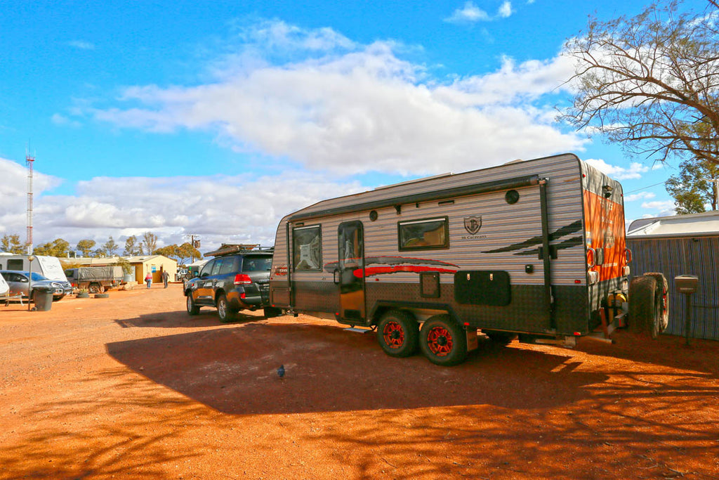 Take it slowly when entering a caravan park and don;t rush to position your van into your allocated spot (Opal Inn Caravan Park)