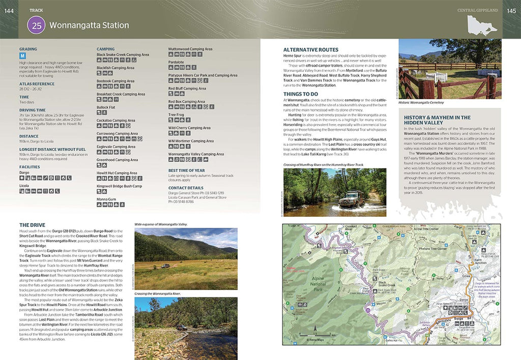 VIC High Country Atlas & Guide from Hema Maps pages 144-145 preview of Track 25 Wonnangatta Station