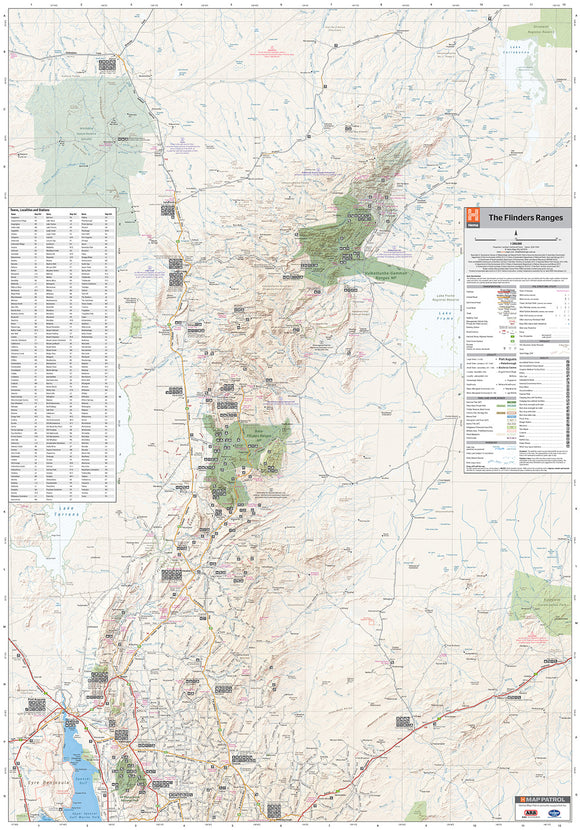 Flinders Ranges Supermap - 1000x1430 - Laminated