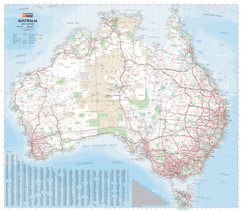 Australia Large Map Laminated Tubed 1000x875mm