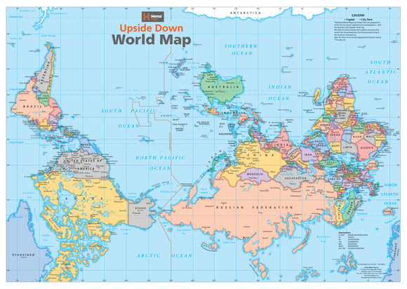 Upside Down World Map Laminated Tubed 840x594mm