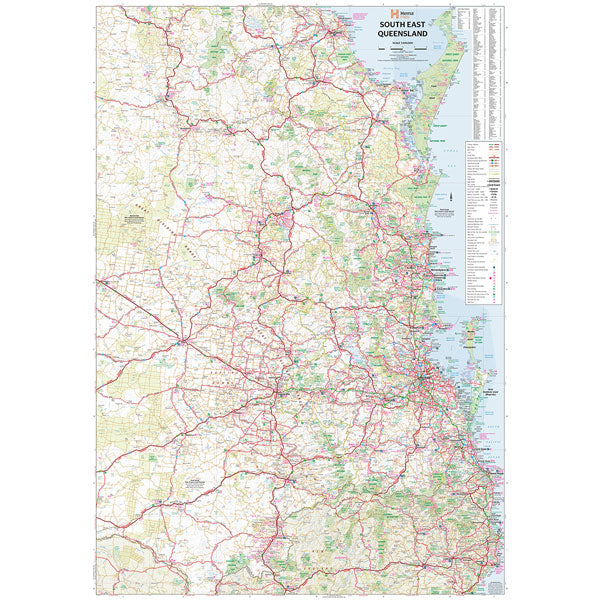 South East Queensland Map Laminated 700x1000mm - Hema Maps