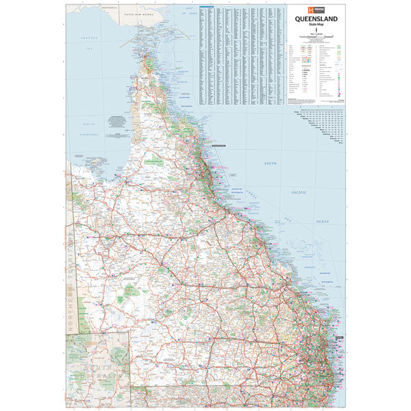 Map Queensland.Queensland State Map Laminated 700x1000mm Hema Maps