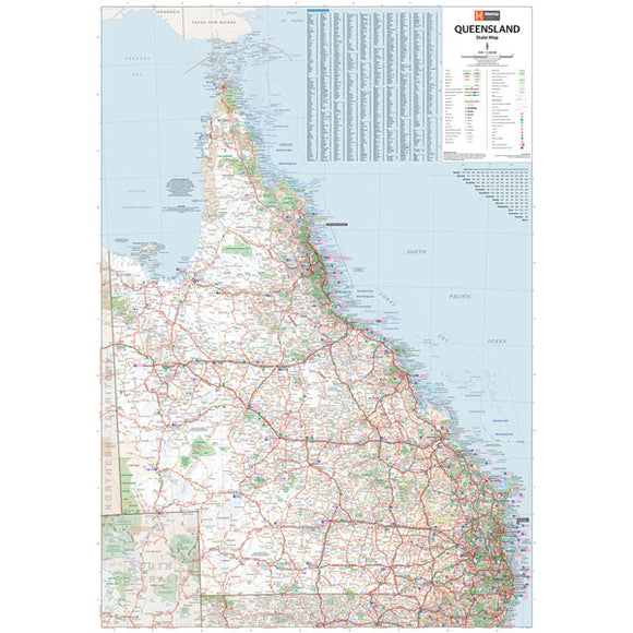 Queensland State Map - 700x1000 - Laminated
