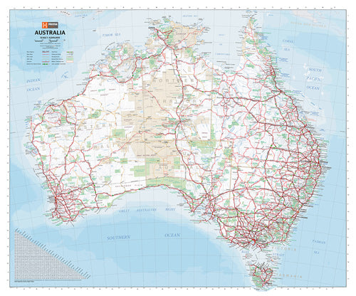 Australia Handy Map Laminated Tubed 750x625mm