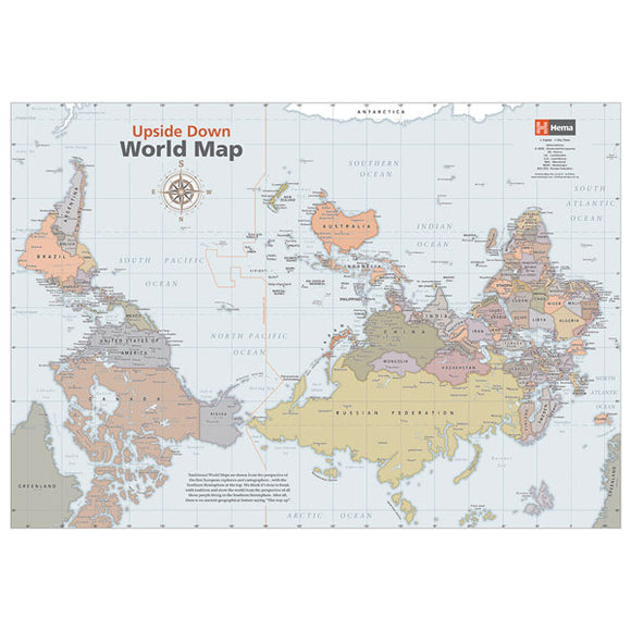 Upside Down World Classic Map - 840x594 - Unlaminated
