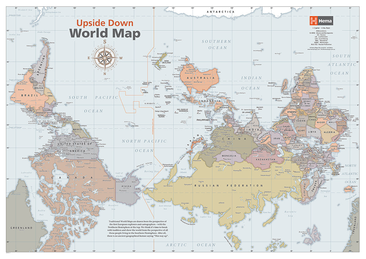 Australia Map Upside.Upside Down World Classic Map Laminated 841x594mm Hema Maps