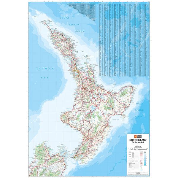 Map North Island Of New Zealand.North Island New Zealand Map Laminated 700x1000mm Hema Maps