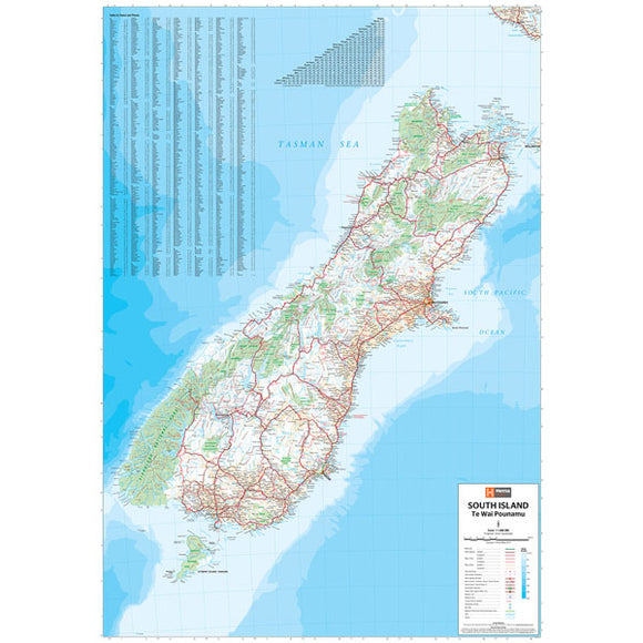 South Island New Zealand Map Laminated 700x1000mm