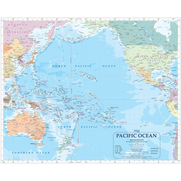Pacific Ocean Map Laminated 700x860mm