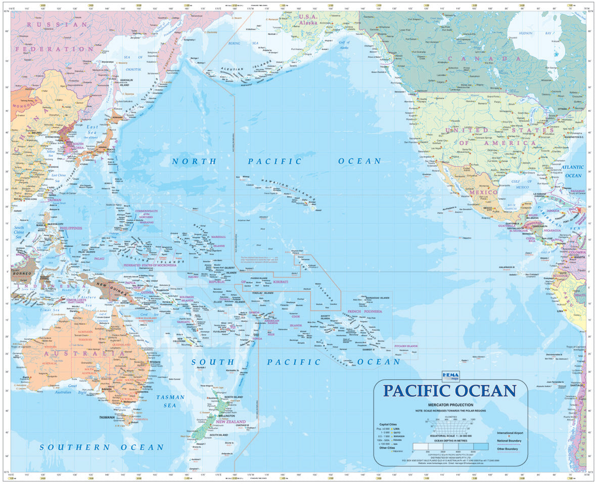Pacific Ocean Map Laminated 700x860mm - Hema Maps Pacific Ocean On Map