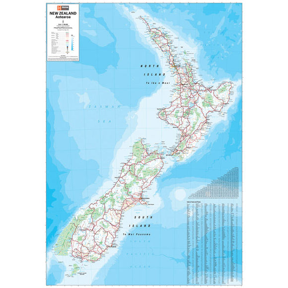 New Zealand Supermap Laminated 1400x1000mm