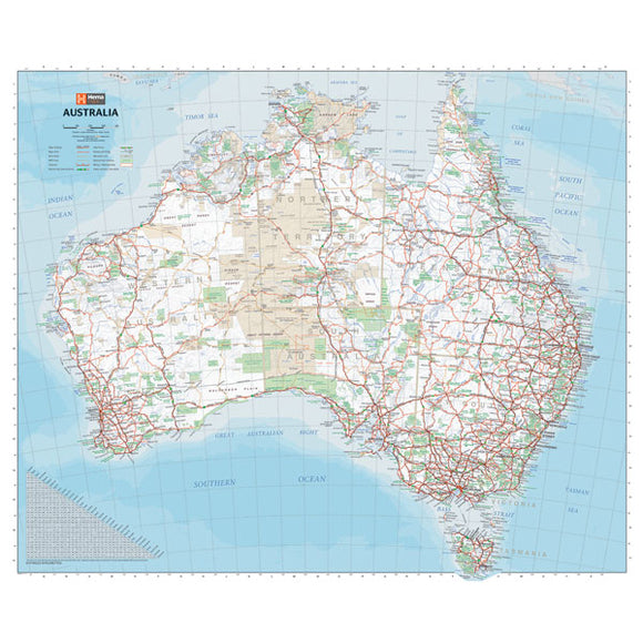 Australia Handy Map - 750x625 - Unlaminated