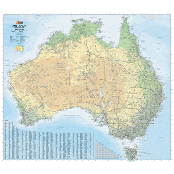 Australia Road & Terrain Map - 1000x875 - Unlaminated