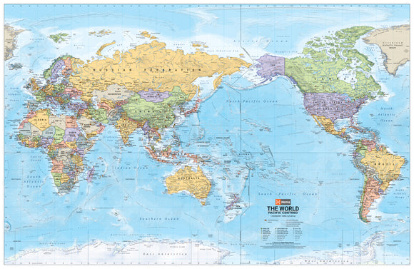 World Political Pacific Centred Map - 1000x650 - Laminated