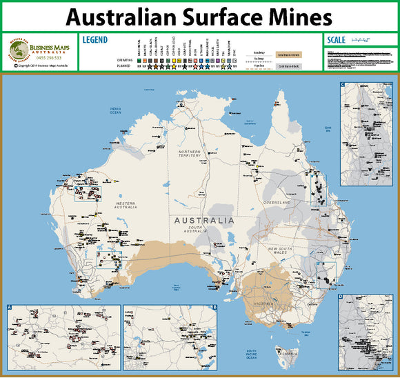 Australia Wall Map - Surface Mines of Australia - 1200 x 900mm - Laminated