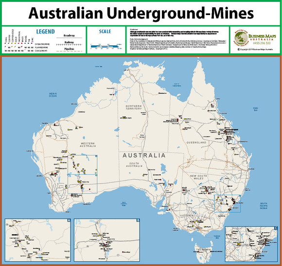 Australia Wall Map - Underground Mines of Australia - 1200 x 900mm - Laminated