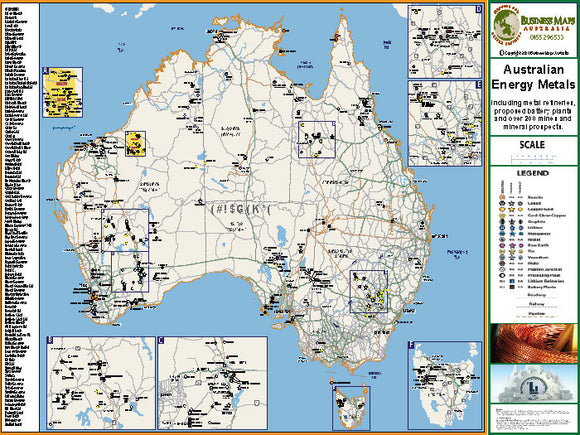 Australia Wall Map - Energy Metals of Australia - 1100 x 850mm - Laminated